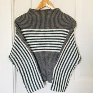Striped high-neck sweater